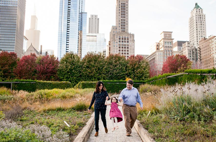 Hannah and her parents explore Millenium Park
