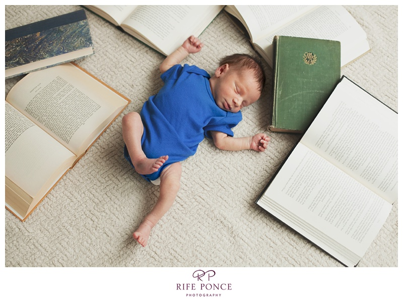 Literary inspired newborn photo session with baby Derby