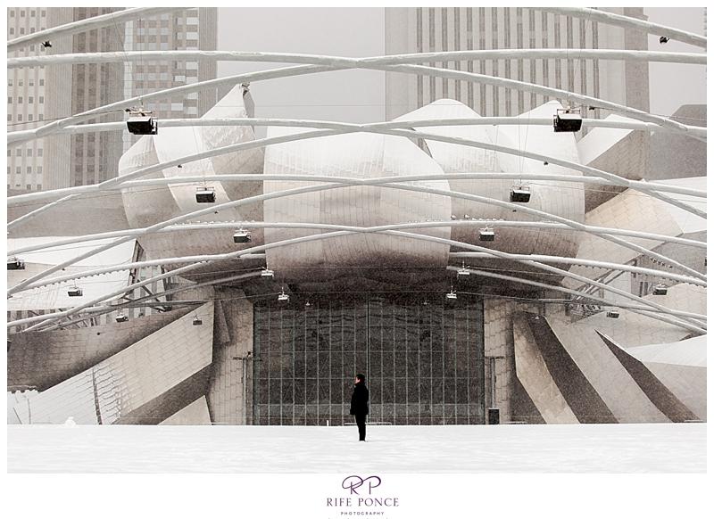 A snowy proposal at Millennium Park